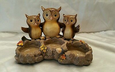 Yankee Candle Tripple Owl Candle Holder Fall no votives
