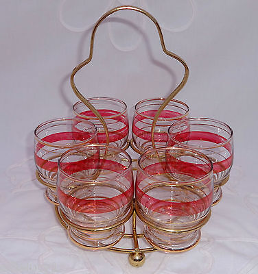 Vintage Retro Set of 6 Decorated Glasses in a Gold Metal Stand