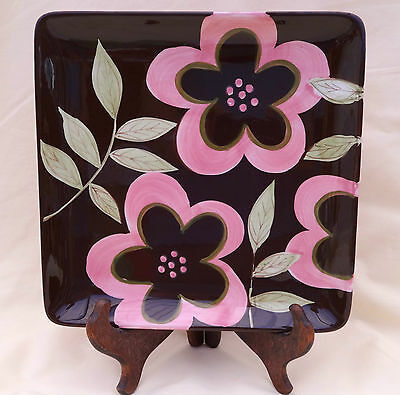 """Gates Ware By Laura Gates Pink Flowers Square Serving Platter 9"""" W"""