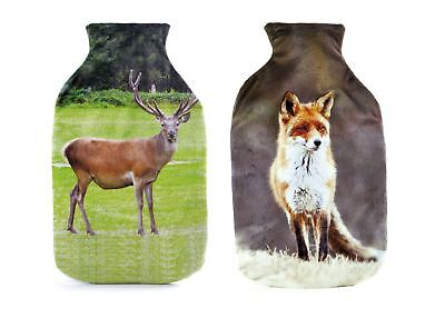 Large 2 Litre Deluxe Hot Water Bottle Animal Design Warm Soft Fleece Cover