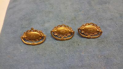 Lot Of 3 Antique Drawer Pulls  With Screws  Center Screw 2 1/2 Inch Brass Look