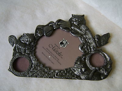 Pewter Tabletop Photo Picture Frame / Cat & Kittens / 1988 New by Metzke