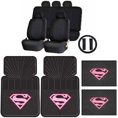15pc Supergirl Pink Shield Front Rear Floor Mats UAA Racing Style Seat Cover Set