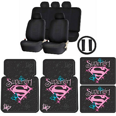 15pc Supergirl Butterfly Stars Front Rear Floor Mats UAA Racing Style Seat Cover