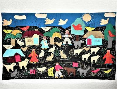THE FARM Folk Art Vtg Hand Pieced Finished Embroidered Crewel APPLIQUE WALL ART