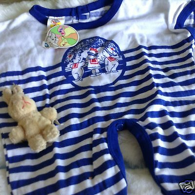VINTAGE  CLOTHING BABY INFANT CHILDRENS ROMPER 12 MONTHS  70s BLUE/WHITE UNUSED