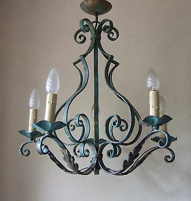 Shabby Chic Antique French Forged Iron Five Branch Chandelier Ceiling Light