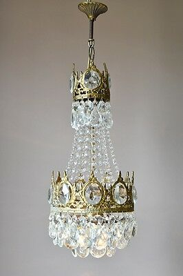 Petite Antique French Vintage Crystal Chandelier Lamp Ceiling Lighting Lustre