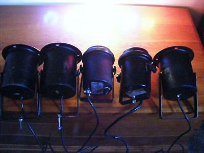 Lot Of 5 Vintage Metal Stage Lights Steampunk Can Style W/filters Free Ship