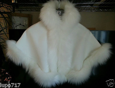 White Kid Girl Fluffy Faux Fur Hooded Winter Cape Coat Poncho Sz S 2-4 Years New
