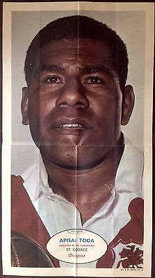 Scanlens Rugby League Football Card # 8 A.toga St. George  1971  Large Poster