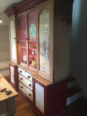 Fantastic Irish Large Original Chic Boho RUSTIC Painted Pine Dresser Cupboard