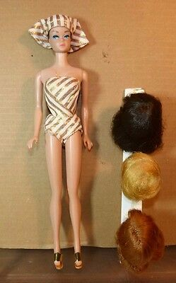 1963 Barbie Vintage Fashion Queen Doll Swimsuit Headdress Wigs Stand Sandals