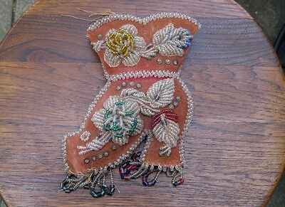 Antique Beaded Boot Wall Pocket