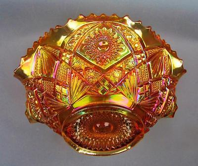 "CARNIVAL GLASS - IMPERIAL HOBSTAR & ARCHES Marigold 9"" Ruffled Master Berry Bowl"