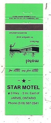 Star Motel # 3 Highway Jarvis ON Ontario Matchcover 110716