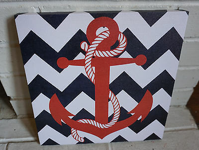 Red White & Blue Chevron Design Nautical Beach Canvas Anchor Home Decor Sign NEW