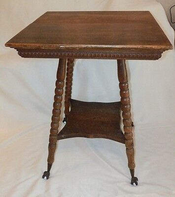 Antique Oak Wood PARLOR TABLE w/Glass Ball & Claw Foot w/Shelf Vintage