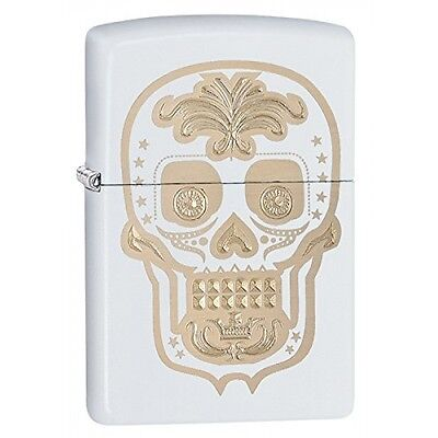 Zippo Sugar Skull White Matte Windproof Lighter Brand New
