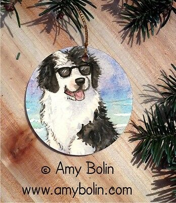 PORTUGUESE WATER DOG CERAMIC  Christmas ORNAMENT by Amy Bolin HELLO HOLLYWOOD