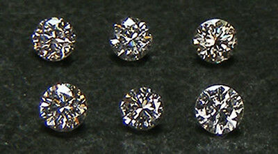 Lot De 6 Pcs. / 0,214 Ct. Diamants 100% Naturel Taille 2,0-2,2 Mm.