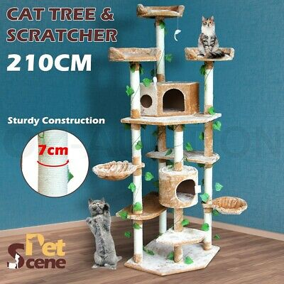 210cm Scratching Post Pole Multi Level Climbing Cat Tree Furniture Scratcher Toy