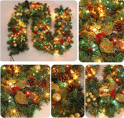 """270cm 106"""" Full Decorated Christmas Garland w 220V String Light Party Ornaments"""