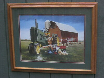 Artist Donald Zolan TRACTOR WASH with John Deere Tractor Print Signed  FREE SHIP