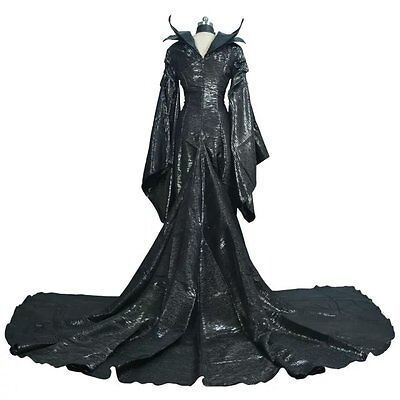 COSTYLY Halloween Maleficent Cosplay Costume Fancy Balck Dress Costume US SHIP!!