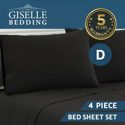 Giselle Bedding 1000TC 4 Piece Microfiber Bed Sheet Set Fitted Flat Pillowcase D