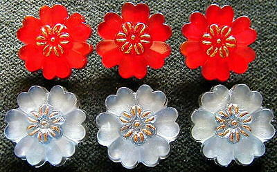 6 Czech Crystal Glass Buttons #A699 - RARE  SHAPE of FLOWERS