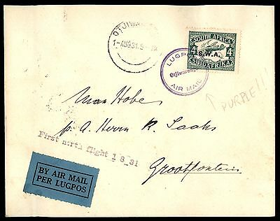 South West Africa Otjiwarongo to Grootfontein 1931 First Flight Cover