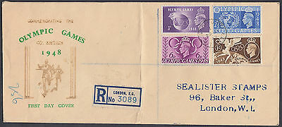 1948 Olympic Games Illustrated Registered FDC; London Chief Office EC/T CDS