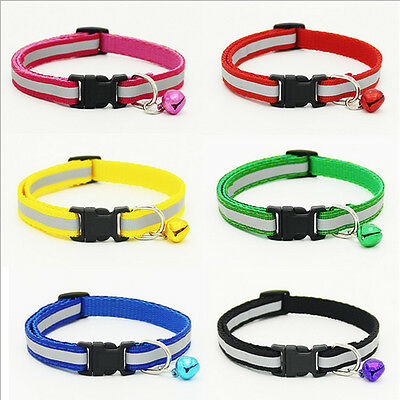 Pet Dog Puppy Cat Soft Glossy Reflective Collar Safety Buckle Bell Adjustable mh