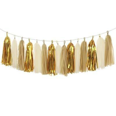 10pcs White&Gold Tissue Paper Tassels Party Wedding Decor Garland Buntings