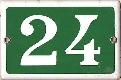 Old green French house number 24 door gate plate plaque enamel metal sign steel