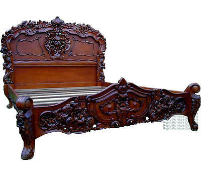 Rococo French Bed - Mahogany - King Size 5ft