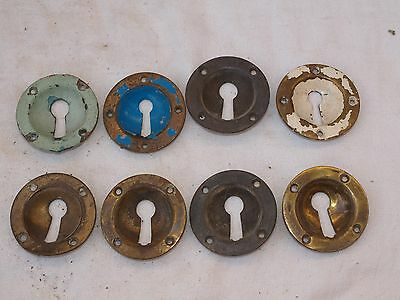 8 RECLAIMED RAISED & RECESSED BRASS DOOR LOCK KEY SURROUND ESCUTCHEON 54mm