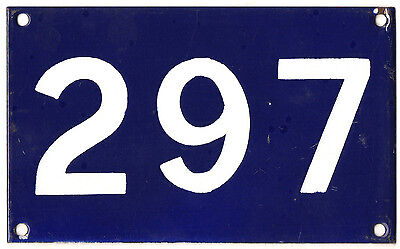 Old Australian used house number 297 door gate enamel metal sign in French blue