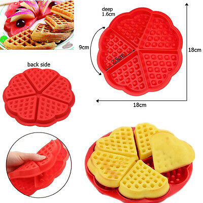Cute Love Heart Silicone Waffles Pan Cake Baking Baked Cake Chocolate Mold Tray