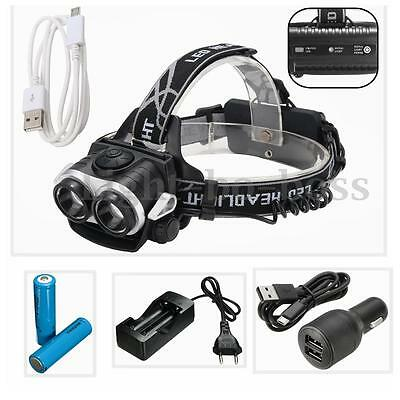 10000Lm 2x T6 LED USB Rechargeable Headlamp Lampe Frontale 18650 Chargeur Allume
