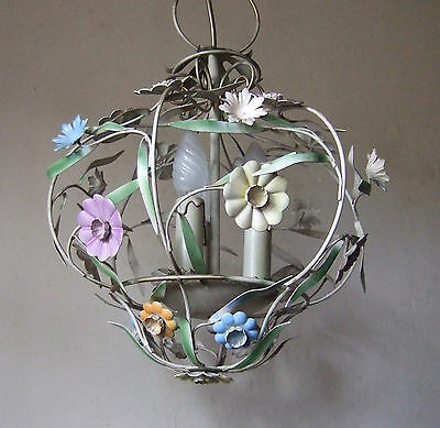 Rare Antique  French Painted Toleware  3 Light Cage Chandelier With Flowers