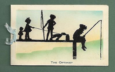 Sweet C1930's Silhouette Style Christmas Greeting Card Children Fishing