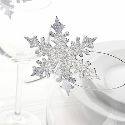 Pack of 10 - Shimmering Snowflake Silver Place Cards - Christmas - NEW