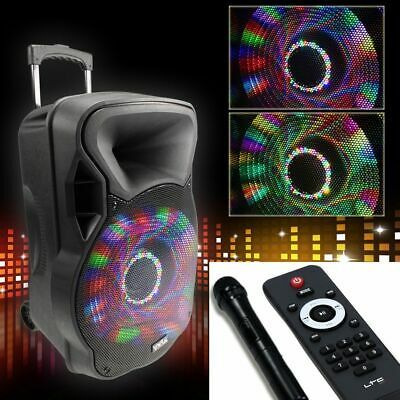 700W Mobile LED Party Soundanlage Karaoke Bluetooth USB SD Trolley Funk Mikrofon