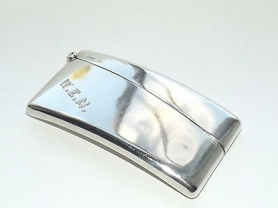 Good Quality Antique Hallmarked Solid Silver Sterling Card Case Chester 1914