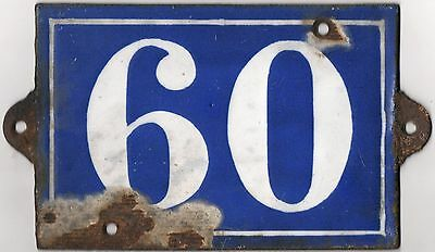 Large C19 French house number 60 door plate plaque enamel cast iron metal sign