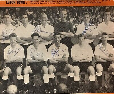 Signed 1950s Luton Town FC Team Group X7 Seamus Dunne Billy Bingham .++