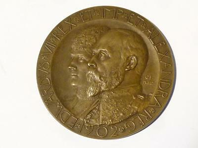 1902 EDWARD VII Coronation Bronze Medal in Box 52mm George Frampton #K3