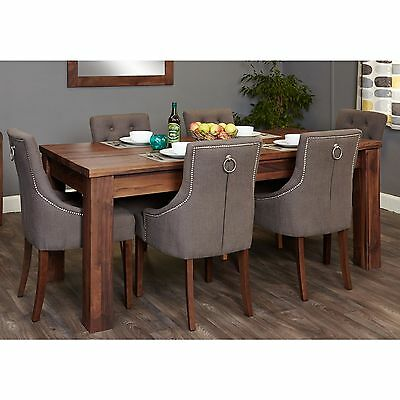 Mayan solid walnut furniture extending dining table and six luxury chairs set